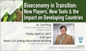 Flyer for Dr. Carl Pray's talk on April 21, 2017.