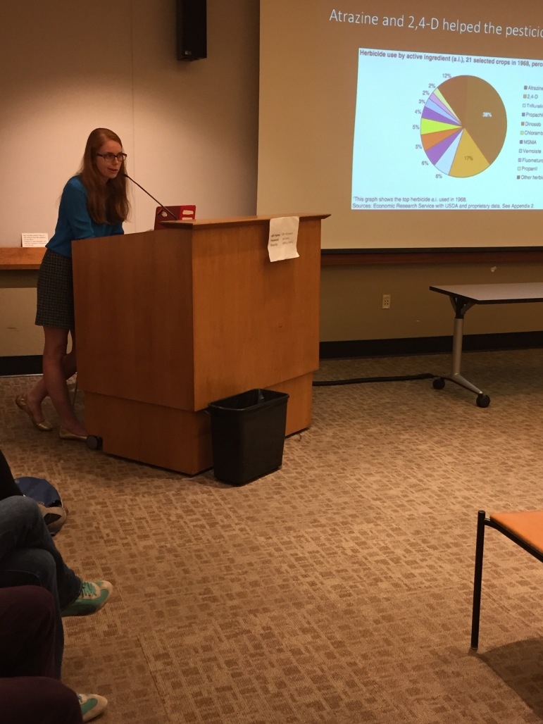 """Virginia Markham gives a talk at Berkeley Public library for their series, """"Popping the Science Bubble""""."""