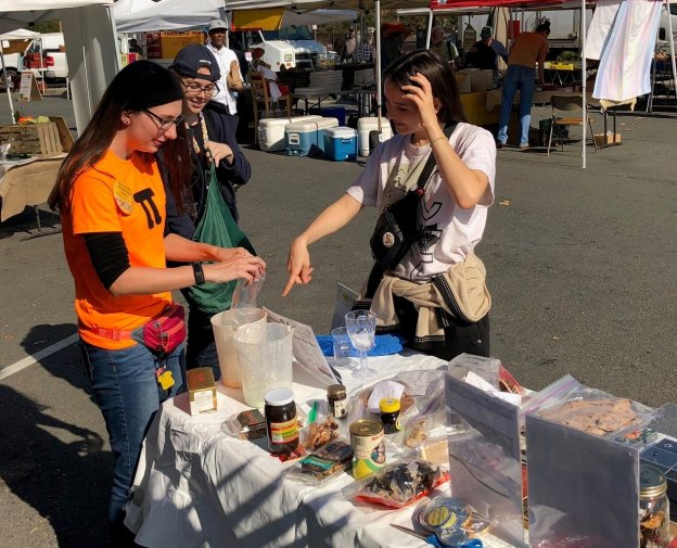 We brought slime (ooblek), dry ice fog and other spooky demos to the Halloween market.