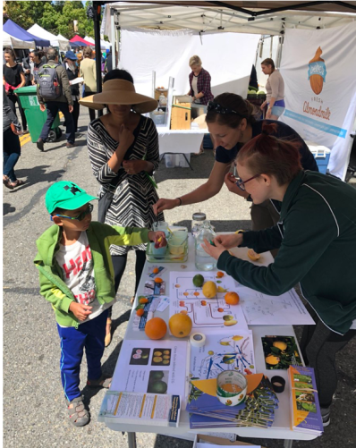 Becky and Heidi help a young visitor participate in our citrus demo.