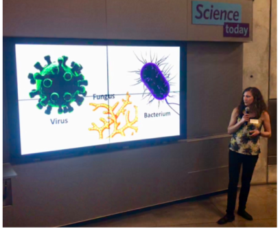Becky gives a plant pathology talk at the Cal Academy of Science's Nightlife.